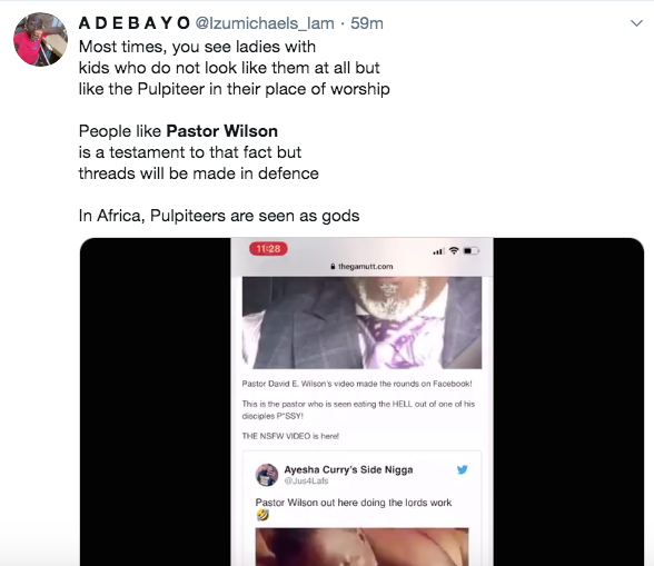Pastor Wilson, Pastor Caught Speaking In Tongues While Eating Woman's Vagina